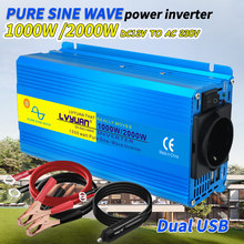 2000W Zuivere Sinus Omvormer Dc 12V/24V Naar Ac 220V 230V Spanning Overdracht converter Opladen Adapter Eu Socket Auto Accessoires
