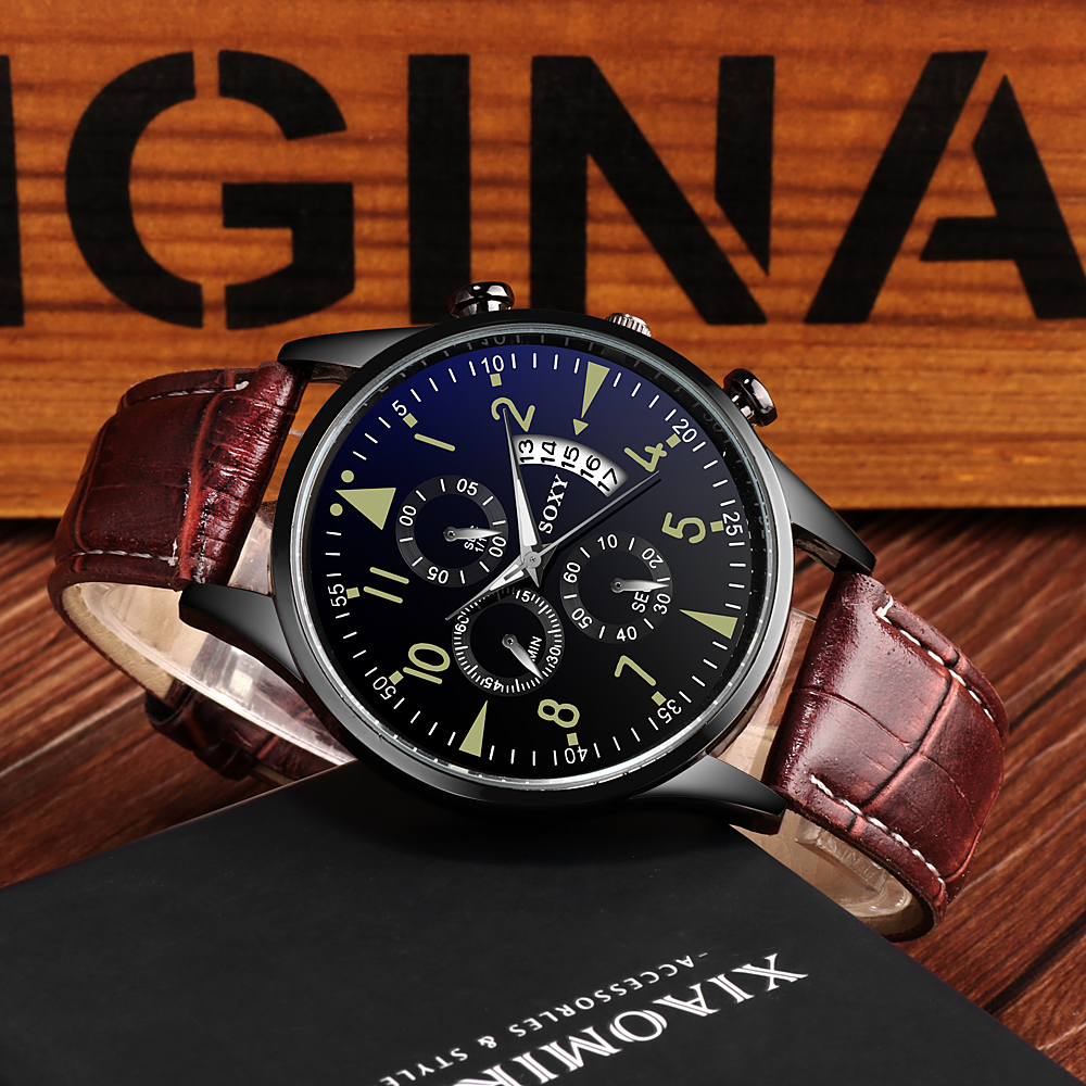 Men's Watch Top Brand Luxury Luminous Date Clock Sports Watches Men Quartz Casual Wrist Watch Men Clock CLOVER JEWELLERY