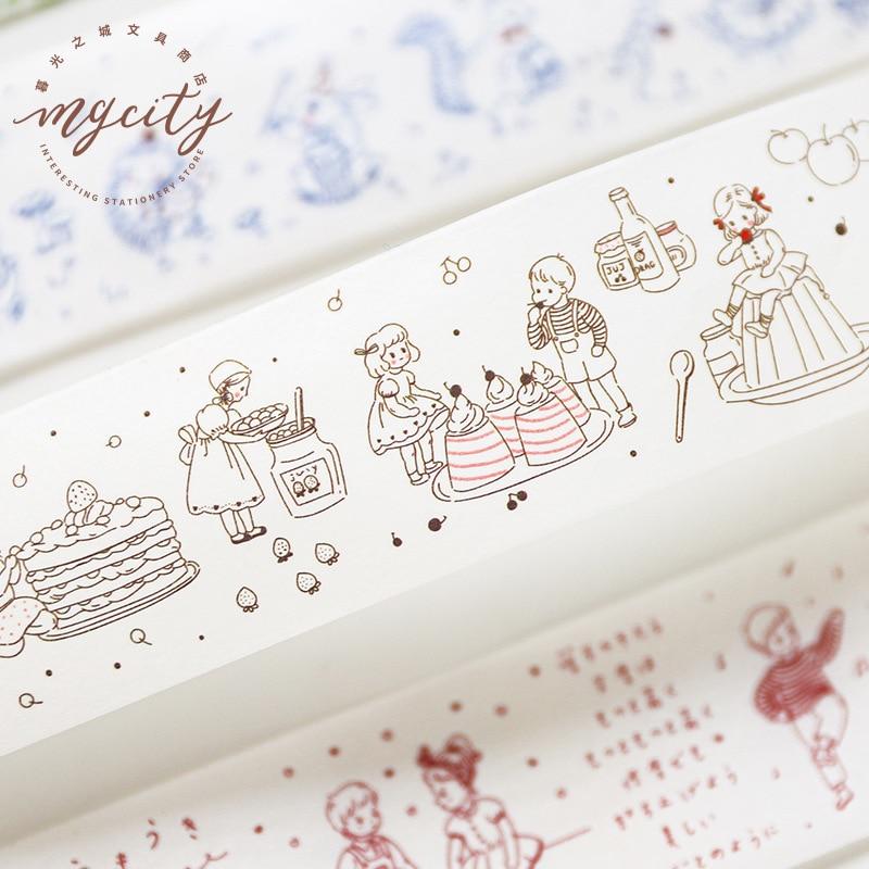 Fantastic Story Series Bullet Journal Washi Tape Cute Character Decorative Adhesive Tape DIY Scrapbooking Sticker Label
