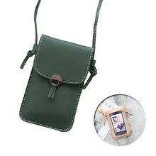 Tela de toque transparente telefone celular bolsa smartphone carteira retro simples saco do telefone móvel mini bolsa de ombro pequena aleta