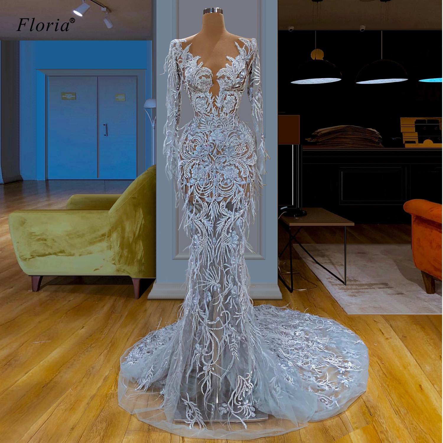 Robe De Soiree Dubai Lace Formal Evening Dresses 2020 Long Mermaid Evening Gowns Transparent вечернее платье Feathers Vestidos
