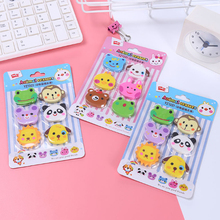 6pcs/lot  Cartoon Animal Head Eraser students school gift Prize kidss Puzzle Toy Stationery