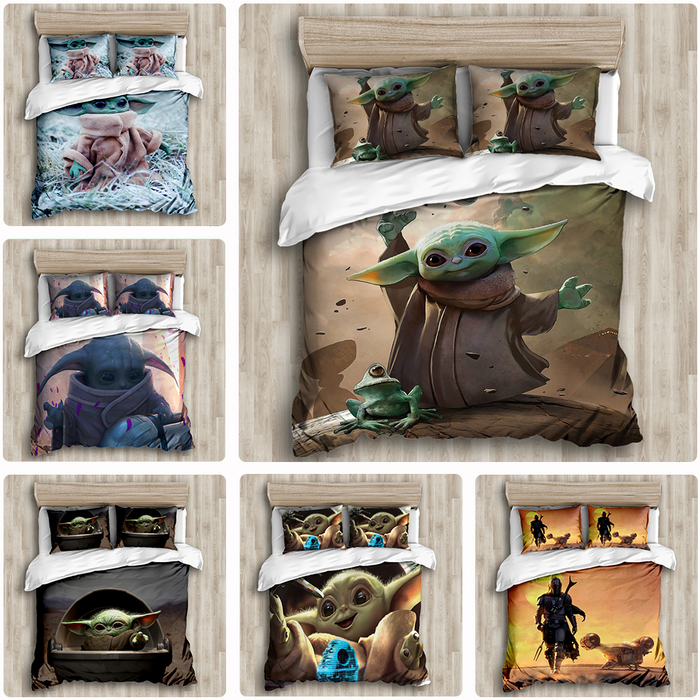 DIY Star Wars Baby Yoda Bedding Set 3D Home Textile Quality Qualified Cotton Single Queen Bedding Set Duvet Cover PillowCases