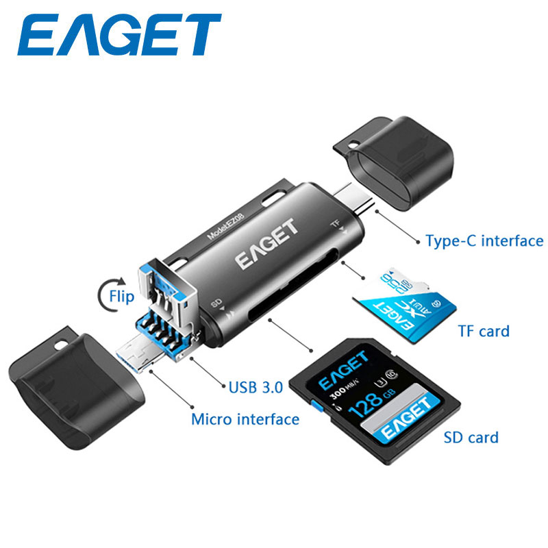 EAGET EZ08 Card Reader USB 3 0 Type C to SD Micro SD TF Adapter for