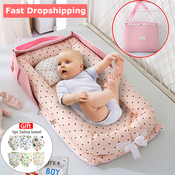 Portable Newborn Baby Cot Nest Bed for Boys Girls Crib Travel Bed Infant Cotton Cradle Crib Baby Bassinet Newborn Cradle Bed