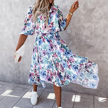 New Summer Women Half Sleeve Floral Printing Party Dress Casual V-Neck Button Ladies Dress Chiffon Elegant Female Dress Vestidos