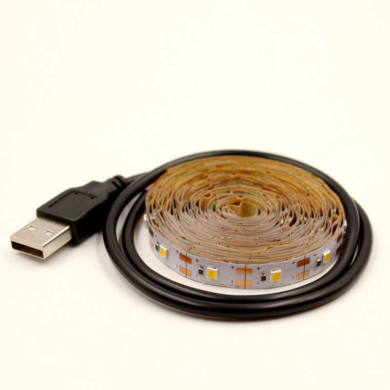 TV LED Lampu Strip 5V 2835 Fleksibel USB Tape 0.5M 1M 2M 3M RGB Hangat putih Dekoratif Lampu Strip