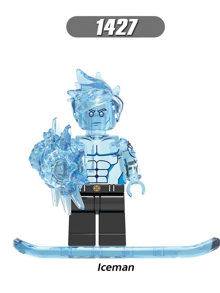 Single Sale Legoinglys Super Heroes Marvel Figures Iceman White Queen Building Blocks Bricks Educational Toys Best Gift For Kid