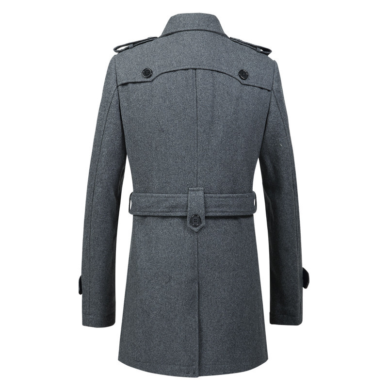 Autumn Wool Coat Men Fashion Slim Fit Long Jackets Thick Winter Trench Coats Male Overcoat Casual Windbreaker LWL637