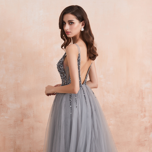 Sexy V-Neck Long Prom Dresses 2020 Beaded Beading Crystal High Splits Backless A-Line Formal Gown Party Dress 6