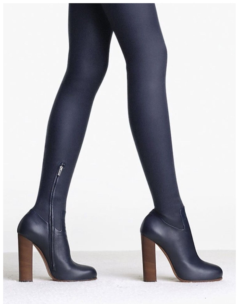 Sexy Ladies Stretch Leather Over The Knee Boots Woman Chunky High Heels Slim Fit Boots Street Fashion Side Zipper Thigh Boots