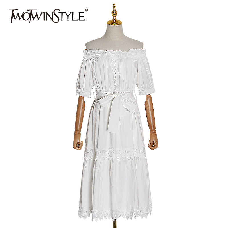 TWOTWINSTYLE Patchwork Lace Bowknot Dress For Women Slash Neck Short Sleeve High Waist Lace Up Dresses Female Spring 2020 New