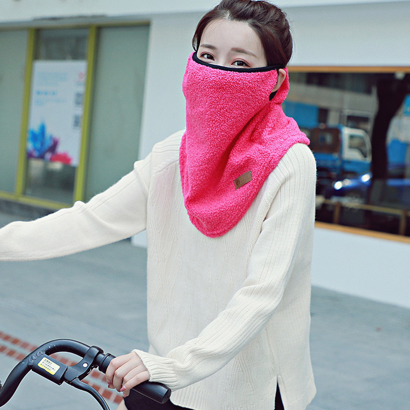 1PCS Winter Thermal Fleece Hanging Ear Half Face Mask Face Women Scarf Snood Neck Warmer Neck