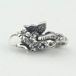 Image 2 - Echtes 925 Sterling Silber Armband Schmetterling Hummer Lock Vintage karabinerverschluss für Frauen Fit für Europäischen Charme Armbänder