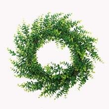 Artificial Eucalyptus eucalyptus leaves garland green wreath doors and windows hanging rattan iron ring home decoration