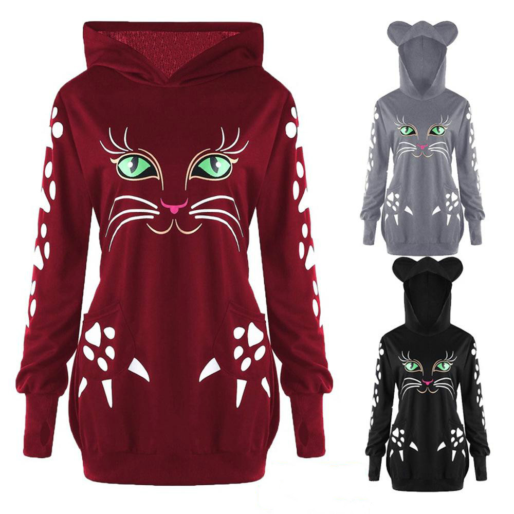 Autumn Cat Print Long Hooded Sweatershirt Women Winter Fashion Loose Plus Size Hooded Pullover