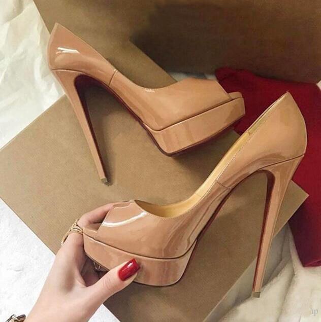 Luxo sapatos de salto vermelho para o casamento das mulheres 14cm saltos altos sexy senhoras vestido sapatos de couro patente peep toe tamanho grande 45 saco de pó