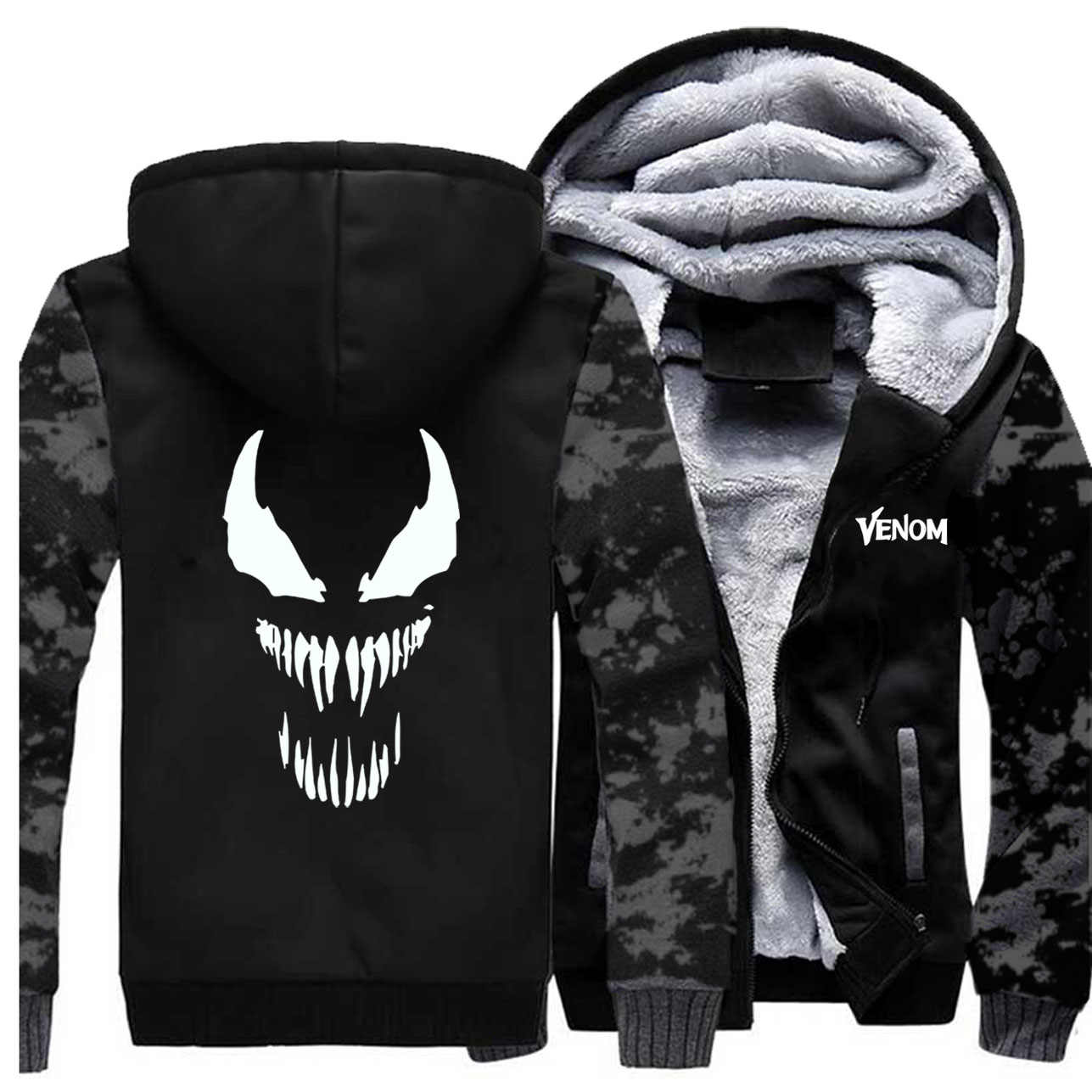 Venom Edward Jacken Männer Hoodies Sweatshirts Zipper Winter Dicke Fleece Superhero Mäntel Jacken Sportswear Camouflage Sportswear