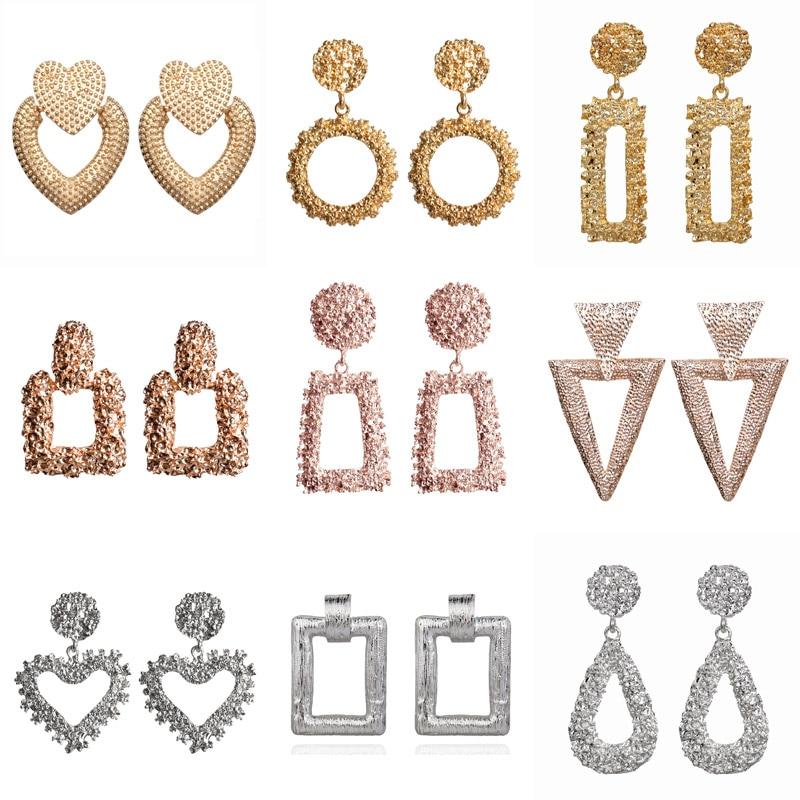Modyle 2020 Gold Silver Color Big Drop Earrings for Women Geometric Statement Earrings female Fashion Modern Jewelry