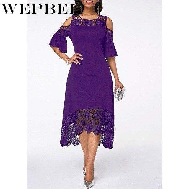 Women Plus Size Summer Lace Floral Dress Ladies Short Ruffles Sleeve Off Cold Shoulder O Neck Party Dress Long Maxi Dress 5XL 2