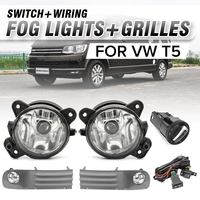 1Pair Front Bumper Fog Light Angel Eyes Wiring Harness Daytime Running Light Plastic Black Kit for VW T5 TRANSPORTER 2003 2010