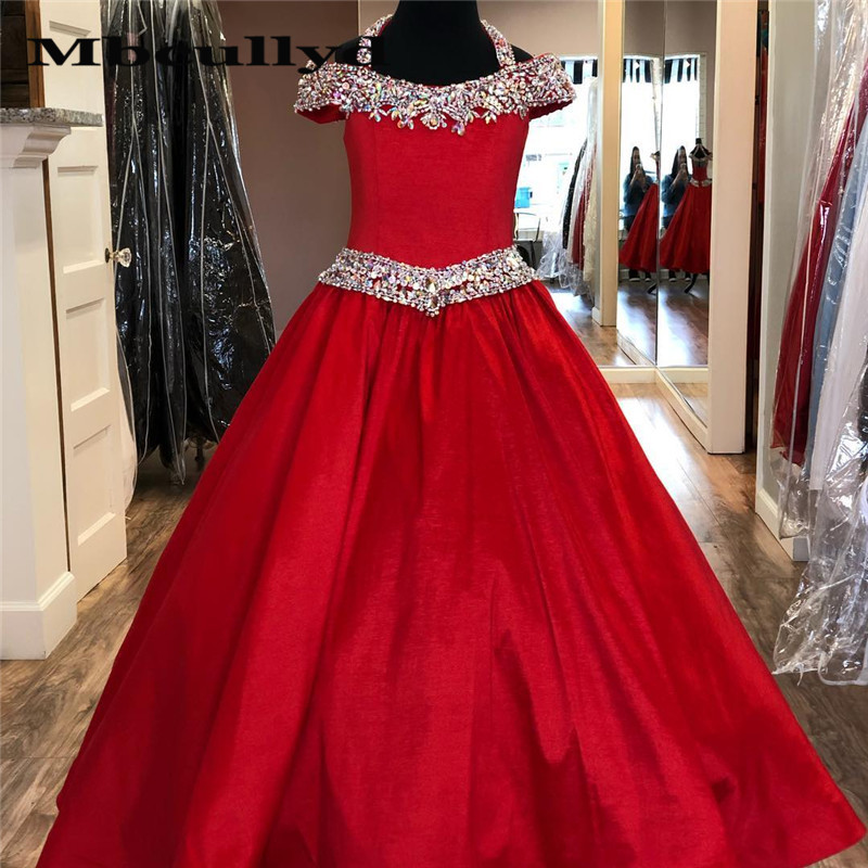 Mbcullyd Glitter Crystal Red   Flower     Girls     Dresses   for Wedding 2020 Luxury Satin Kids Pageant   Dress   First Holy Communion Gowns