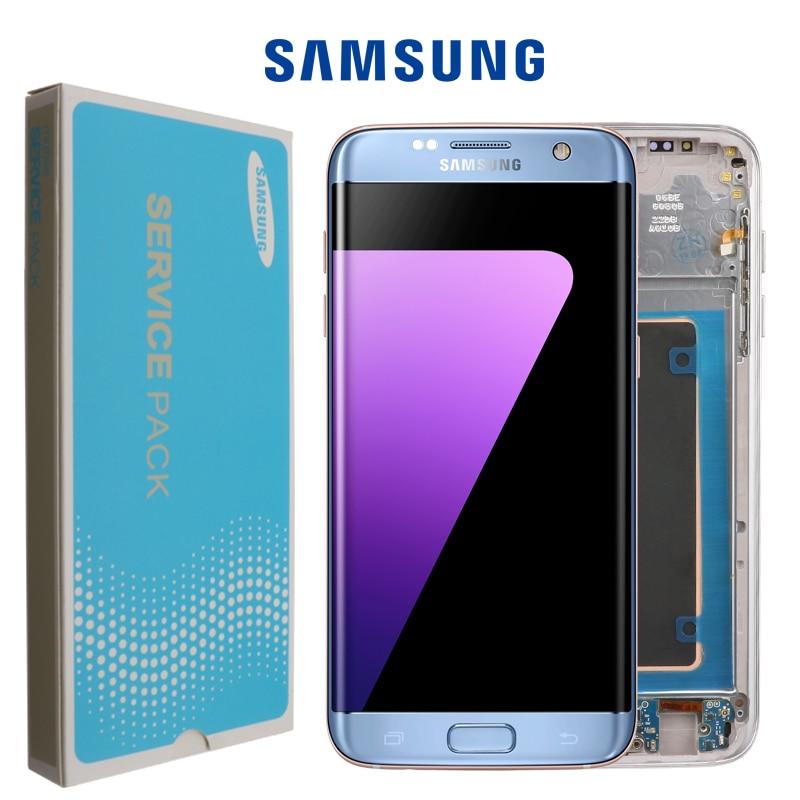 100% orijinal süper AMOLED LCD değiştirme için Samsung S7 kenar G935F G935A G9350 çerçeve ile LCD Digitizer dokunmatik ekran ekran Cep Telefonu LCD