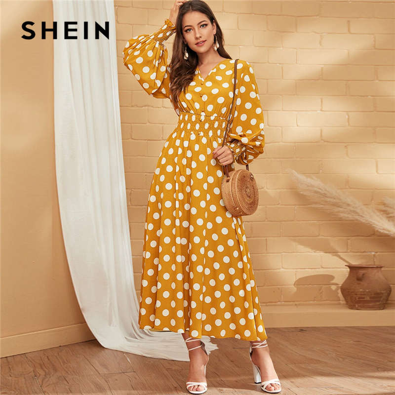 SHEIN Yellow V Neck Polka Dot Button Front Shirred Waist Boho Long Dress Women Holiday Autumn Bishop Sleeve A Line Maxi Dresses