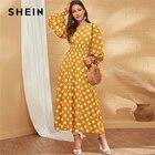 SHEIN Yellow V Neck ...