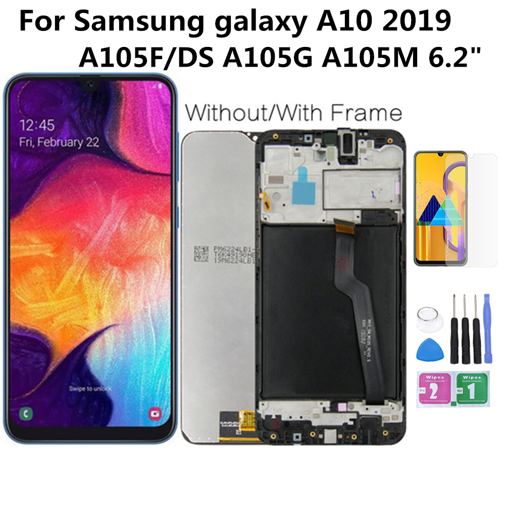 Perfect Quality <font><b>LCD</b></font> For <font><b>SAMSUNG</b></font> Galaxy <font><b>A10</b></font> SM-A105F/DS A105FN <font><b>LCD</b></font> <font><b>Screen</b></font> Display Touch Digitizer Assembly With Frame Tools image
