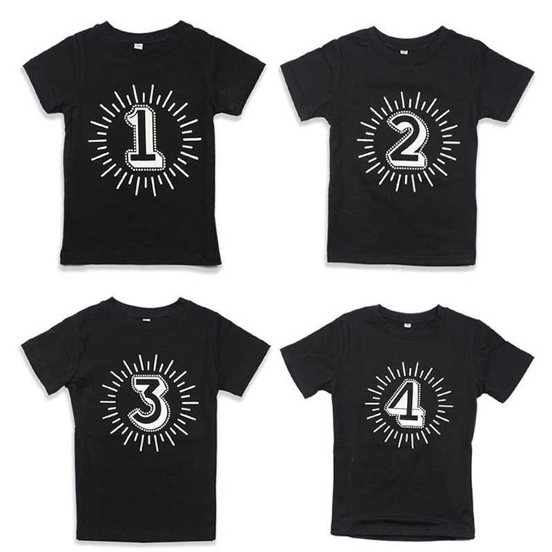 สีดำTshirtเด็กจำนวน 1 2 3 4 พิมพ์ชายแขนสั้นวันเกิดPartyเสื้อยืดเด็กทารกเด็กผู้หญิงฤดูร้อนTops unisex Tee Tops