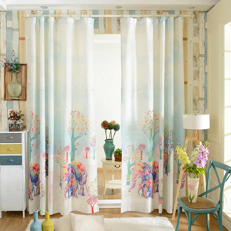 3D Curtains Printing Elephant Kids Curtains Shading Custom Blackout Cartoon Curtains for Kitchen Living Room Bedroom