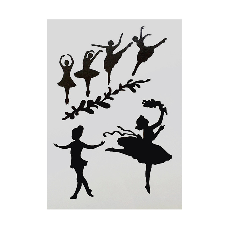 DIY Painting A4 Size Dancing Girl Pattern Layering Stencils Template For Wall Furniture Fabric Painting Decorative