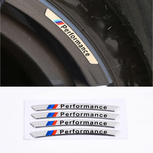 4pcs aluminum performance car wheel sticker For BMW E30 E36 E39 E46 E53 E60 E64 E70 E83 E85 E87 E90 E92 E71