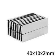5~100PCS 40x10x2 Super Strong Sheet Rare Earth Magnet Thickness 2mm Block Rectangular Neodymium Magnets N35 40x10x2mm 40*10*2 mm