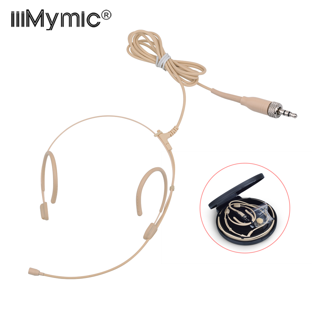 Upgrade Version Electret Condenser Headworn Headset Microphone 3 5mm Jack TRS Locking Mic For Sennheiser Body Pack Thick Cable