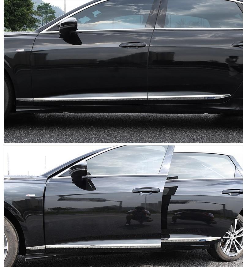 Боковые полосы из нержавеющей стали для Audi A6 A6L2019, яркие полосы для корпуса, устойчивые к царапинам 6 шт. автомобильных аксессуаров