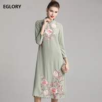 Top Quality Brand Chinese Dress 2019 Autumn Party Vintage Women Exquisite Embroidery Long Sleeve Mid Calf Light Green Pink Dress