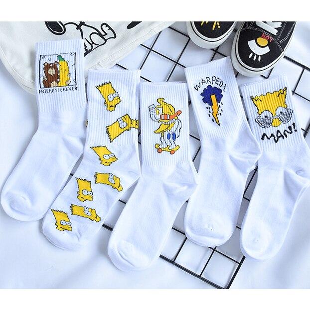Unisex Cartoon Socks Women Men Simpson Sesame Street Cotton Socks For Girls Mens Funny Happy Simpsons Socks Streetwear Harajuku