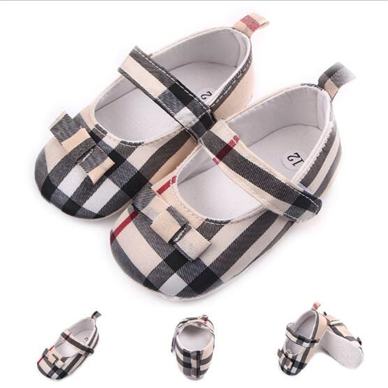 Fashion Plaid Baby Shoes Newborn Girl First Walkers Kids Boy Antislip Crib Shoes Baby Shoes