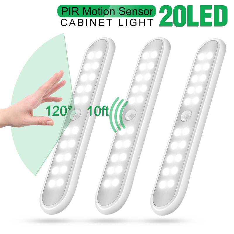 20 LED Battery Powered LED Closet Light Wireless Human Infrared Induction Magnetic Cabinet Light For Bedroom Corridor Stairs
