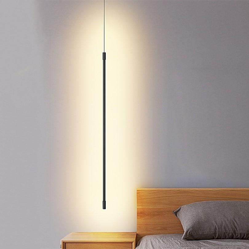 Minimaliste chambre chevet pendentif lumineux LED moderne salon suspension lampe ligne lumière à côté du canapé atmosphère suspension lampe