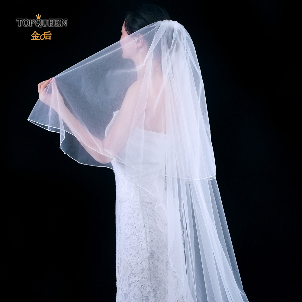 TOPQUEEN V17 Bridal Veils Wedding Accessories Cathedral Bridal Veil Pencil Edge 2 Layer White Ivory Bridal Veils with Comb