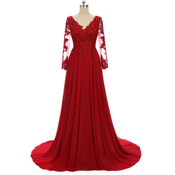 Lace Appliques Long Sleeve Red Chiffon Plus Size Evening Formal Tulle Dress Floor Length Women Gown цена 2017