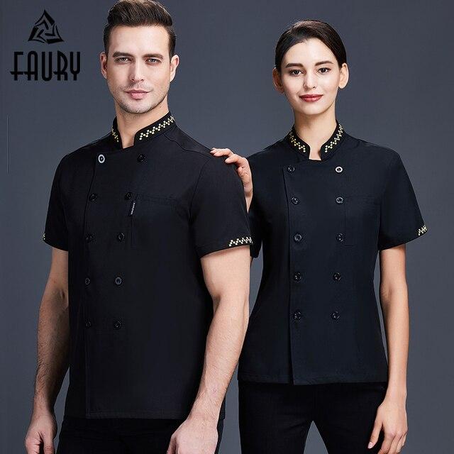 2020 Chef Jacket Restaurant Kitchen Uniform Shirt Unisex Short Sleeved Baking Cook Wear Hotel Barber Shop Cafe Work Overalls