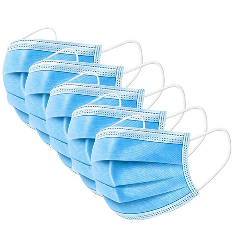 50pcs/100pcs Disposable Masks Anti-fog Dust Mask Blue Nonwove 3 Layer Ply Filter Mouth Mask PM2.5 Protective Face Mask