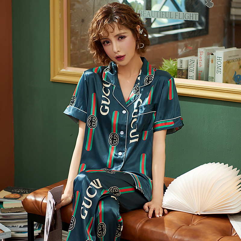 Women 2020 Spring And Summer Silk Pajamas Suit Short Sleeve Long Pants Thin Large Ice Silk Female Pajamas