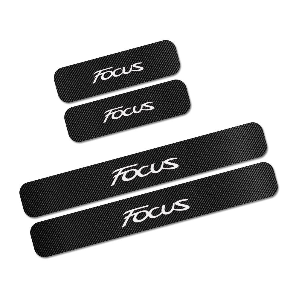 Для Ford Focus 2 3 1 MK2 MK3 MK1 4 шт. наклейки на пороги автомобиля из углеродного волокна авто защита от царапин наклейки аксессуары для тюнинга автомобиля - Название цвета: Focus