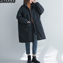 DIMANAF Oversize Women Jackets Coats Winter Zipper Vintage Black Thick Cotton Cl