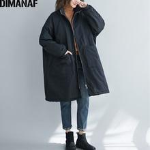 DIMANAF Oversize Women Jackets Coats Winter Zipper Vintage B